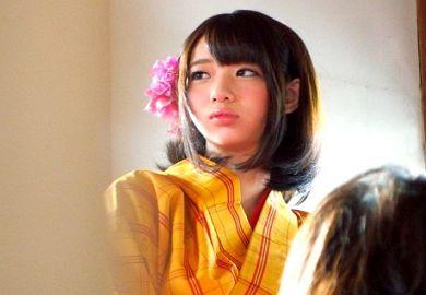 和風カフェ店員の和服姿の美少女JDと生ハメの中だしエッチ動画
